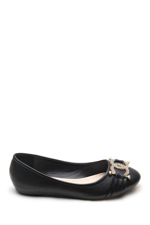 LADIES BUCKLE DETAIL FLAT SHOES BLACK