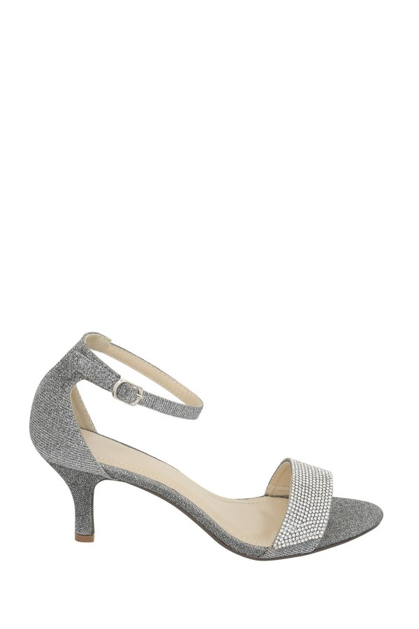 LADIES DIAMANTE KITTEN HEELS GREY 1
