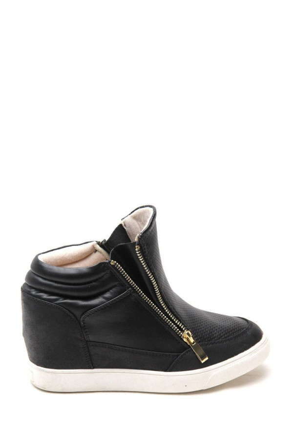 LADIES LEATHER WEDGE TRAINERS