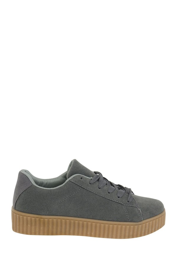 LADIES SUEDE CREEPER TRAINERS GREY 2