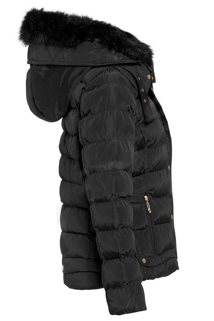 Eleanor Faux Fur Quilted Hooded Jacket Shelikes