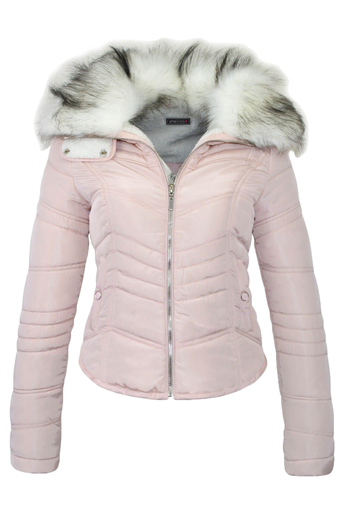 Belle Blush Pink Quilted Jacket with Faux Fur Collar - Shelikes