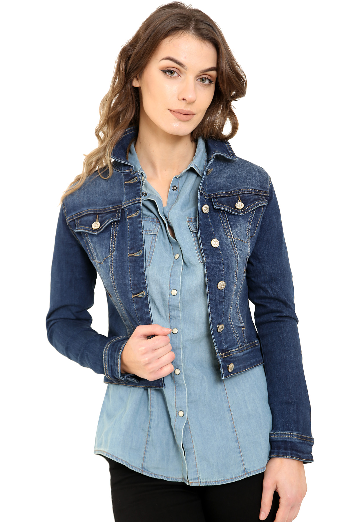 Leila Dark Blue Wash Denim Jacket - Shelikes e85a33cc6