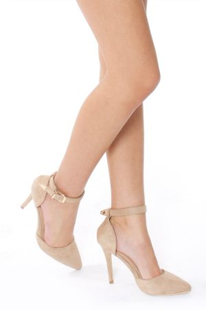 18146b397d ADRIANA FAUX SUEDE POINTED COURT SHOES – NUDE