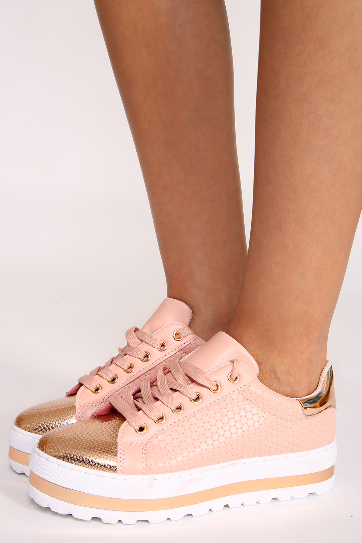 95cd30d63dce LULA LUXE METALLIC FLATFORM TRAINERS - PINK   ROSE GOLD - Shelikes