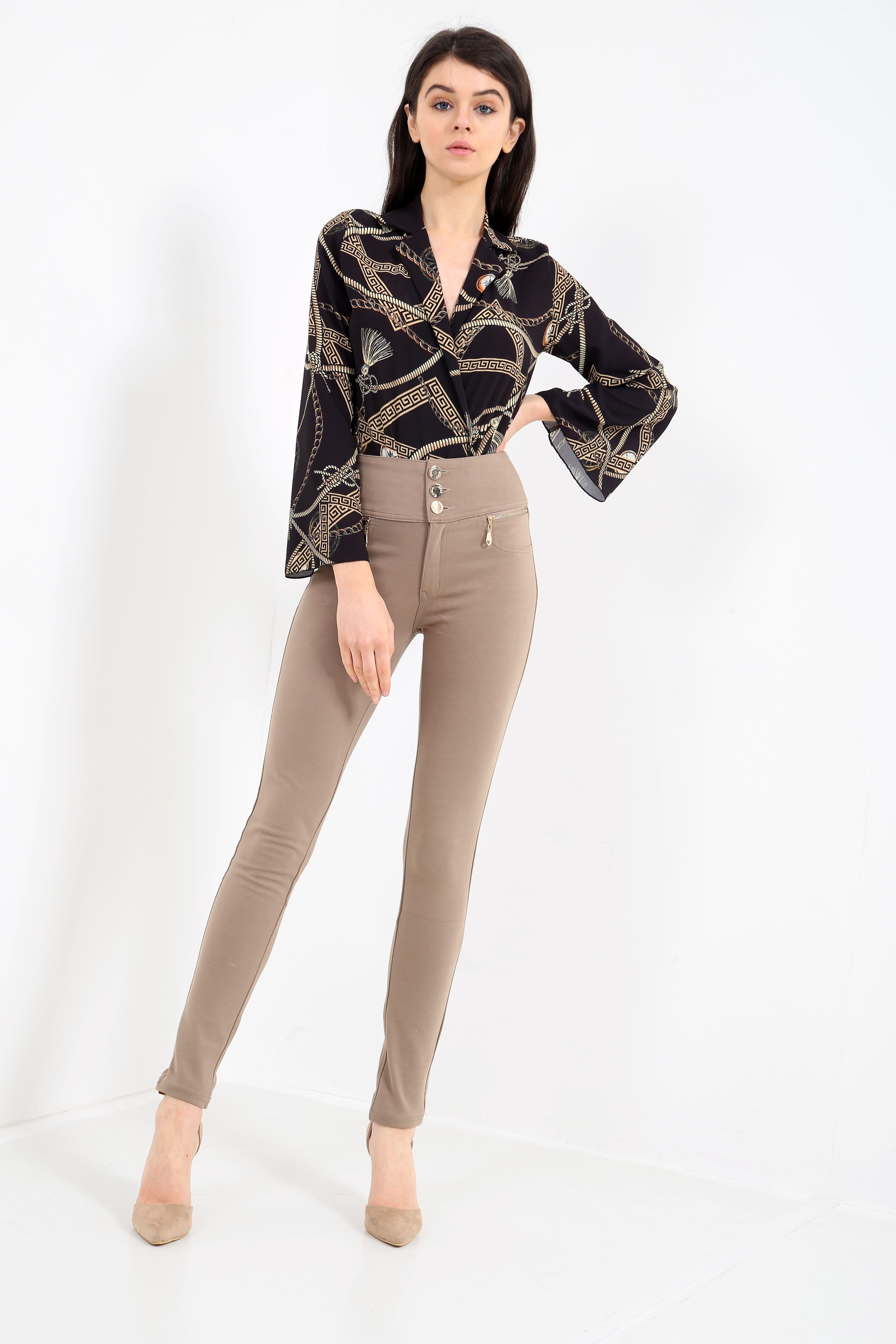 288f486c045843 ... Lizzie 3 Button High Waisted Leggings In Mocha ‹Return to Previous  Page. Bug Fix. Previous; Next