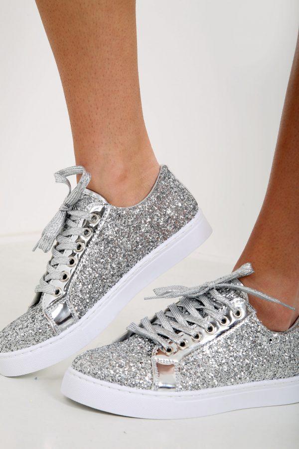 Phoenix Glitter Silver Trainers - Shelikes