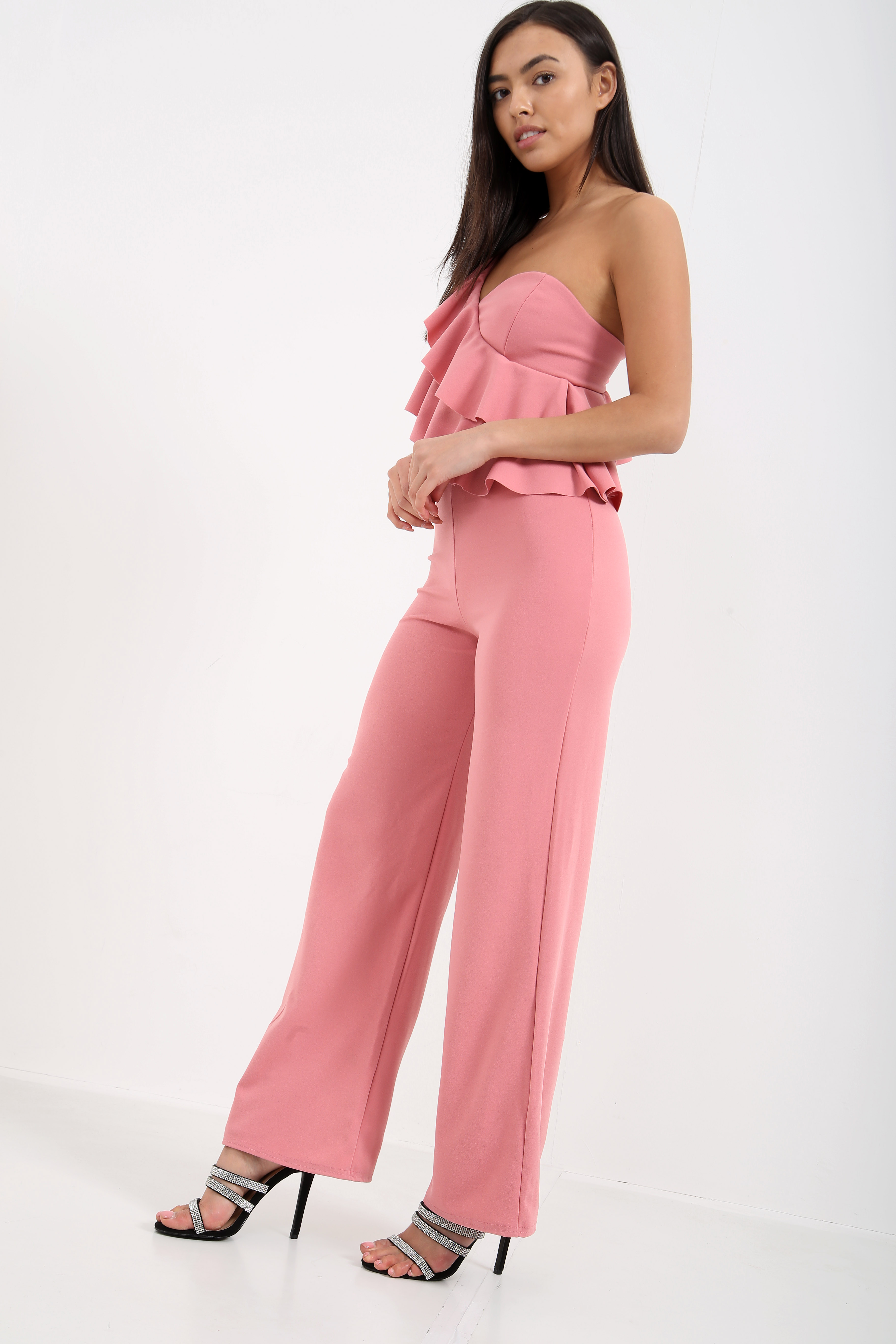 72c75688d71 Raylie Pink One Shoulder Ruffle Jumpsuit - Shelikes