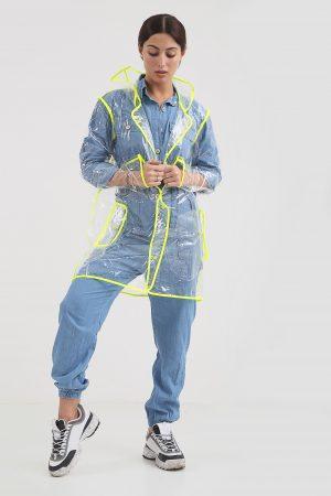 d87767ae5465d Everley Transparent Neon Trim PVC Jacket · CLOTHING ...